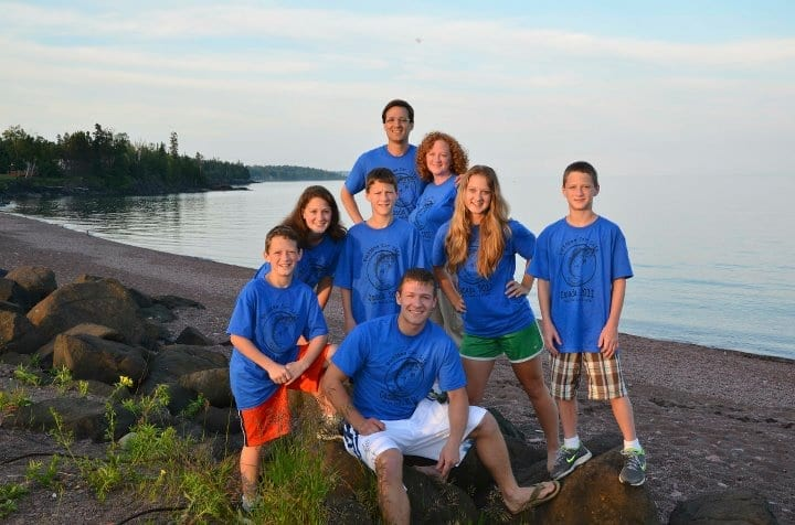 The entire Kucera family in matching blue fishing 2014