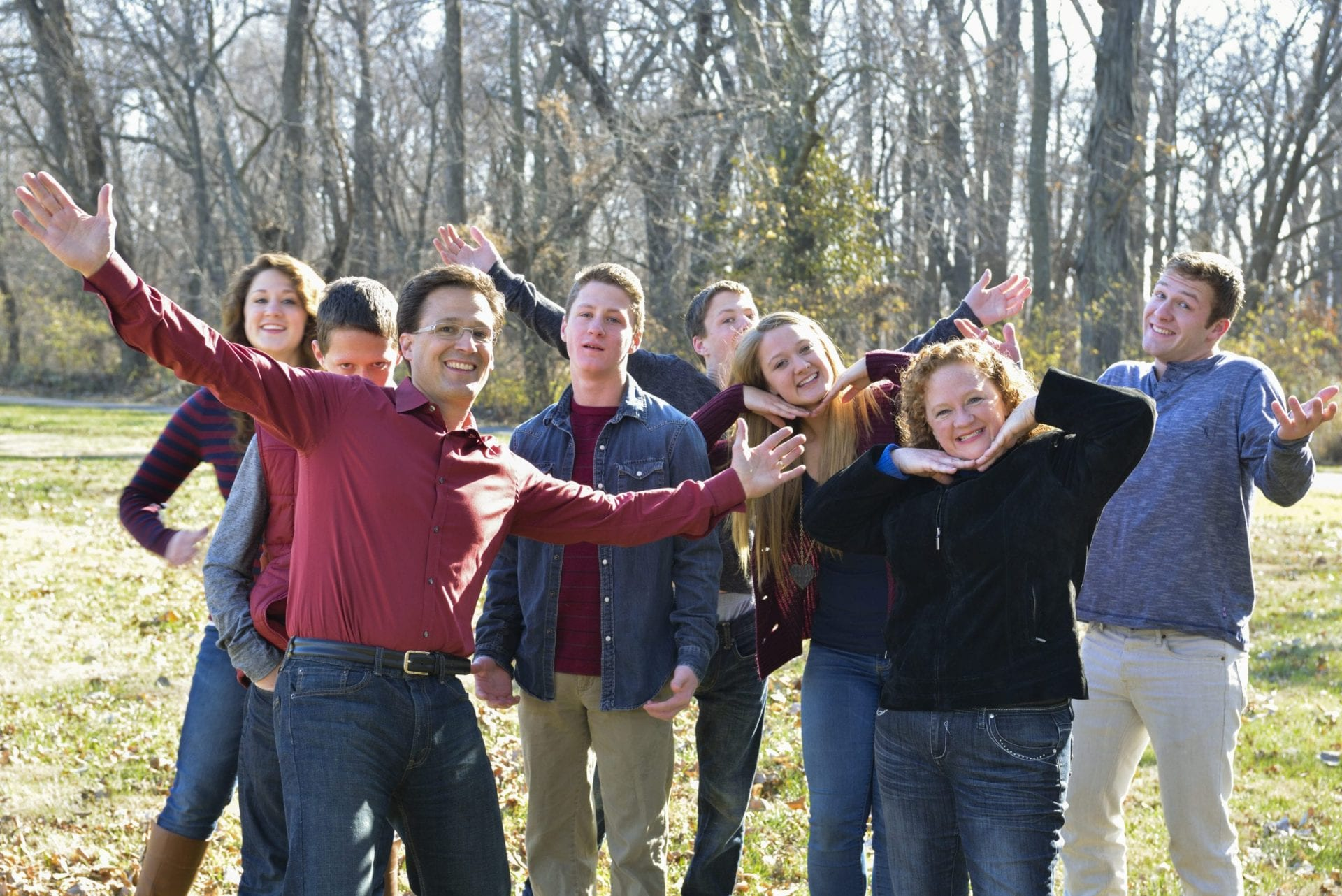 The Kucera Family posing in a park for a family photo 2012